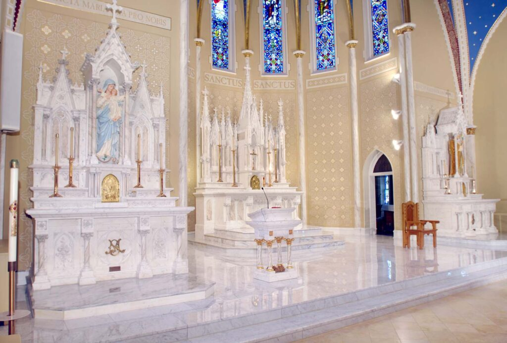 Designers of contemporary catholic altars joy studio for Church mural restoration