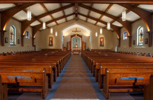 church interior renovation nave carpet pews ceiling