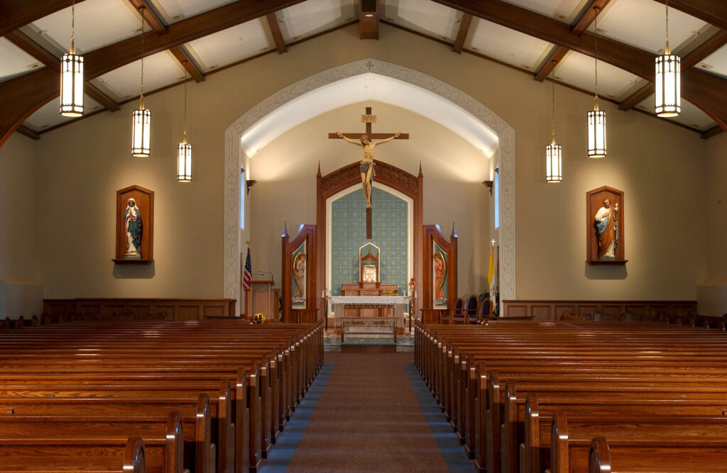 sanctuary renovation church design art paint wood