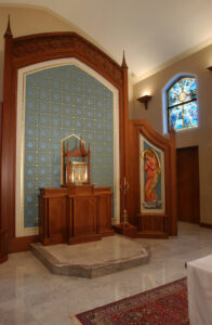 sanctuary renovation marble wood stone art