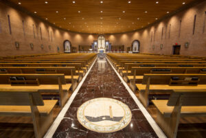 interior restoration mosaic marble pews restoration