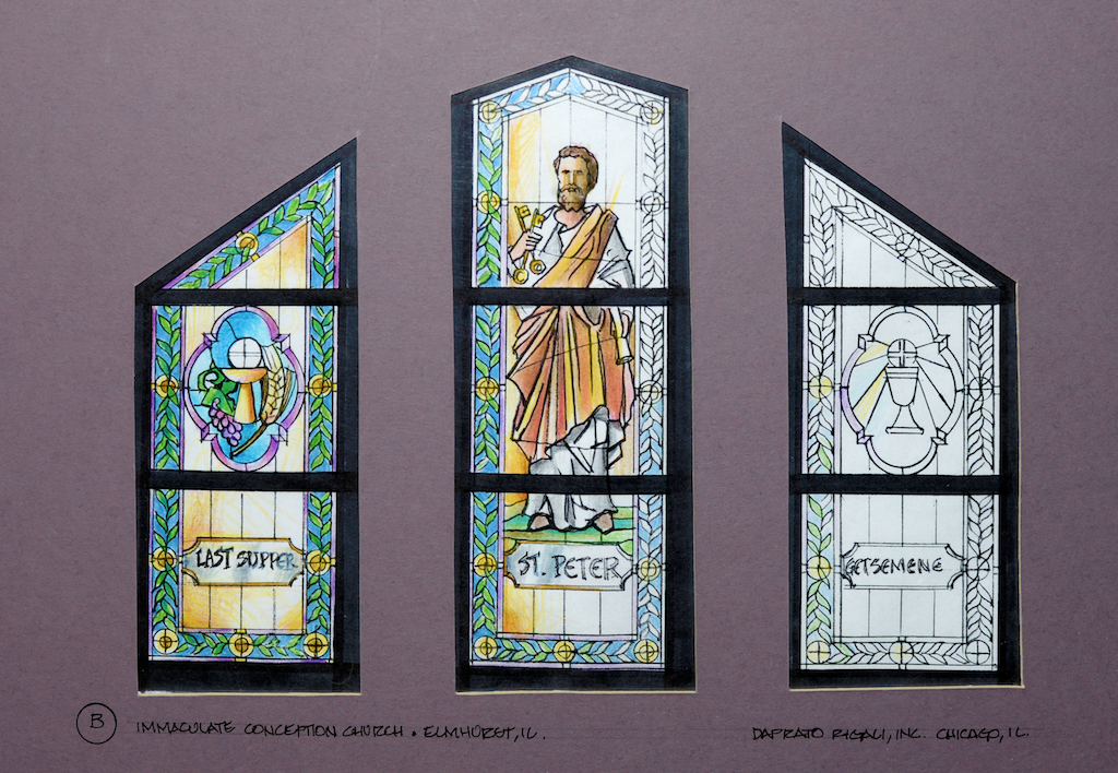 d5e4dee0ea7d Daprato Rigali Studios Tabernacle Designs. Hand drawn Daprato Rigali  rendering. Stained Glass Window Rendering