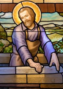 Stained glass window fabrication Joseph