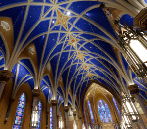 Peoria Cathedral painting stars sky blue
